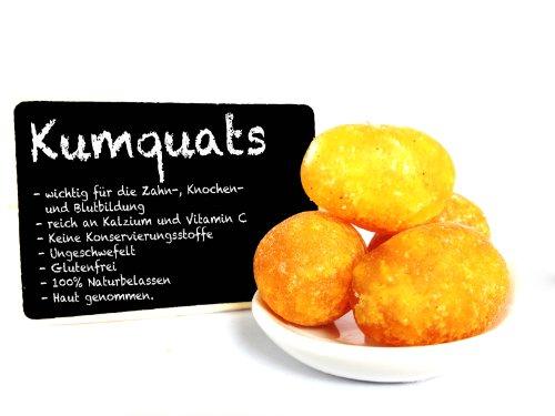 1001 Frucht kandierte Kumquats 250 g I exotische Zwergorange getrocknet I Trockenfrüchte in Premium Qualität I Kumquat kandierte Früchte ganz I gezuckert glutenfrei ohne Geschmacksverstärker