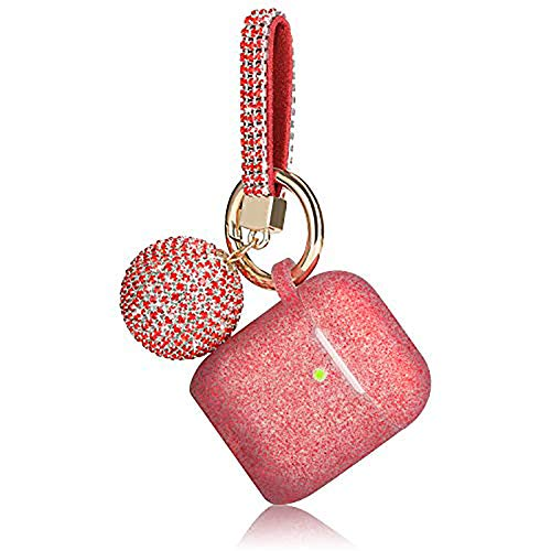 Airpod Case, Filoto Airpods Case Cover for Apple Airpods 2&1 Charging Case, Air Pods Protective Silicone Case Skin with Glitter Disco Ball Keychain, Scratch Proof and Drop Proof (Glittery Red)