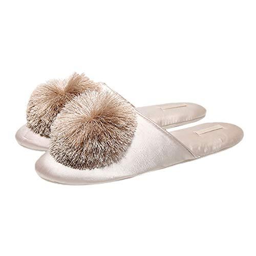 H87yC4ra Zapatillas de invierno con borla para mujer, suaves, planas, antideslizantes, para el hogar, color champán 38-39