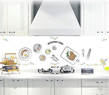 Greyoe Adesivi Murali Cucina, Adesivi Cucina, Carta da Parati da Cucina Autoadesiva in PVC da 2 Pezzi Gourmet Warm Kitchen Restaurant Decorazione da Parete Decorazione Artistica