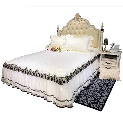 Zcq zwart goud zijde borduurwerk zoom bed rok plissé bed cover elastische band fixing antislip beschermhoes-stof