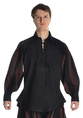 HEMAD Herren Landsknecht Hemd mit Kragen schwarz-braun L/XL