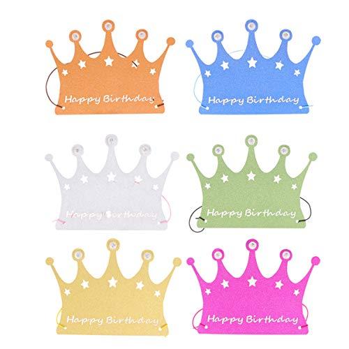 Amosfun 6 Stücke LED Papier Krone Hut Glitzer Partyhüte Papierkrone Geburtstagskrone Papierhut Stirnband Haarschmuck Kopfbedeckung für Kinder Geburtstag Party Haarschmuck