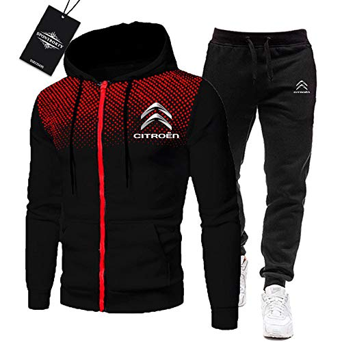 MAUXpIAO de Los Hombres Chandal Conjunto Trotar Traje Cit_R.Oen Hooded Zipper Chaqueta + Pantalones Deporte R de Los Hombres/black/L