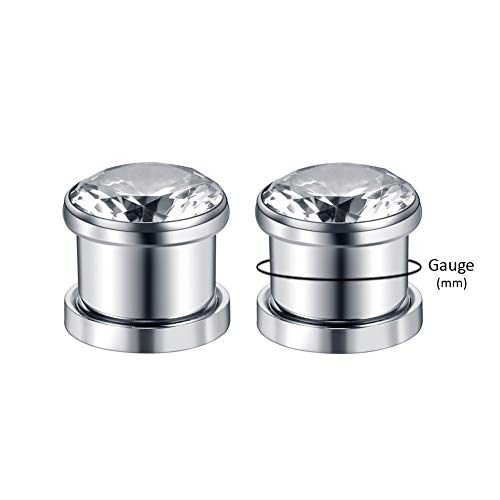 Xpircn 6G-00G Stainless Steel Cubic Zirconia Screw Tunnels Ear Stretcher Plugs Piercing Gauges