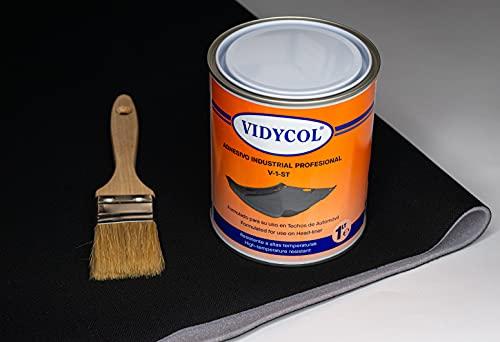 Kit tela para tapizar techo de coche, pegamento alta temperatura y brocha (GRATIS). Tejido negro foamizado de 2 METROS de largo x 1,50m de ancho. 1 litro de cola y pincel para aplicarlo
