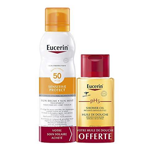 Eucerin Sun Protection Sensitive Protect Brume Transparente Spray SPF50 200 ml + PH5 Huile de Douche 100 ml Offerte