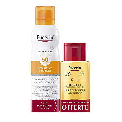 Eucerin Sun Protection Sensitive Protect Brume Transparente Spray SPF50 200 ml + PH5 Huile de Douche 100 ml Offerte