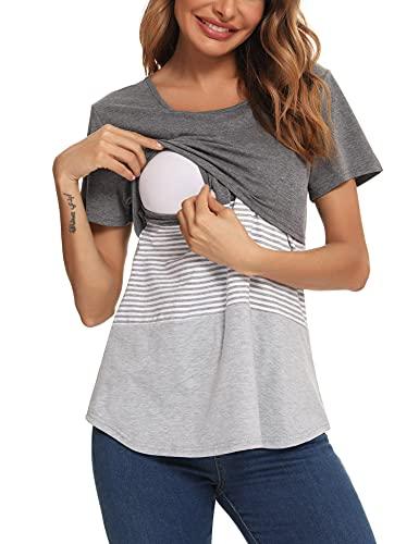 Akalnny Camisa de Lactancia Mujer Manga Corta Verano Ropa de Premamá Algodón Transpirable Suave Camiseta de Embarazada Cómodo