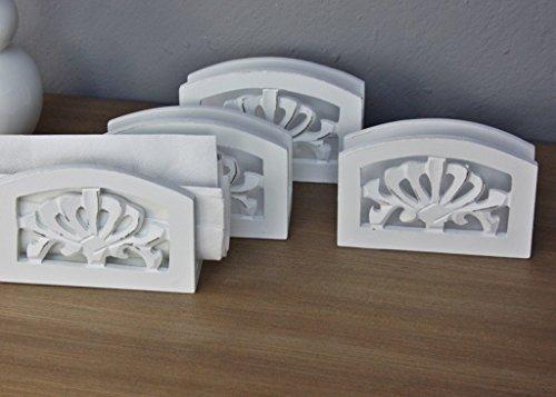 4 x Porte de serviettes de table style maison de campagne en bois 4 pièces blanc