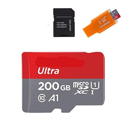 Tarjeta de memoria A1 de 256 GB, 200 GB, 128 GB, 64 GB, 98 MB/s, 32 GB, 16 GB, tarjeta micro SD UHS-1, tarjeta microSD TF/SD de 64 GB (capacidad: adaptador de 200 GB)