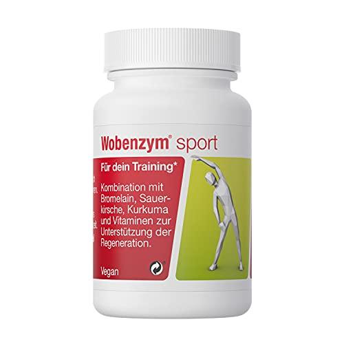 WOBENZYM® sport | 30 Kapseln | Vitamin- und Enzymkombination für die Regeneration im Sport | für dein optimales Training | mit Bromelain, Montmorency Sauerkirsche | ohne Zusatzstoffe | vegan