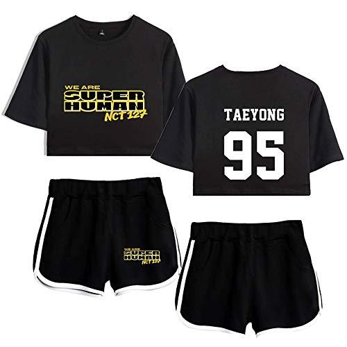 Kpop NCT T-Shirts und Hosen Set WE Are SUPER Human Sportswear-Sets für Damen Top & Kurze Höschen Bekleidungssets Sportbekleidung Freizeitkleidung Frauen Kurzarm Blusen T-Shirt