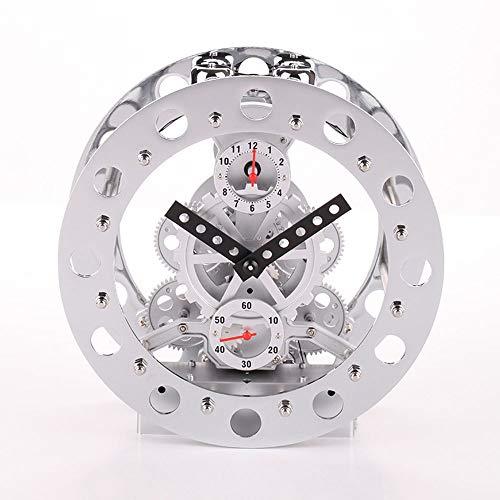 LCSD Reloj de pared de doble engranaje, reloj de alta gama, reloj despertador creativo, aspecto mecánico, 20 cm x 8,5 cm x 20 cm (color: plata)
