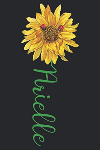 Arielle: A pretty and cute personalized floral sunflower and ladybug notebook gift idea for women and girls named Arielle with the name on the cover.