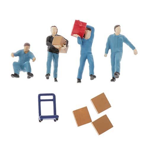 IPOTCH 1:64 Figura de Personas Trabajadores Porterp en Miniatura Realista Figurita Modelismo Ferroviario Accesorios de Mesa de Arena - Azul