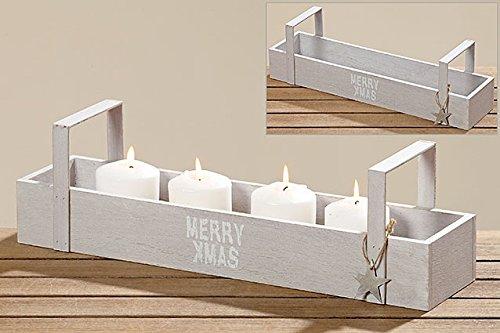 Tamia-Home 3133900 - Vassoio decorativo vintage per candele, in compensato, motivo natalizio, 43 x 11 x 12 cm, colore: Grigio