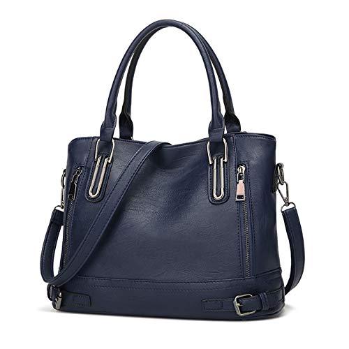 Damen Handtasche Leder Henkeltasche Top Griff Tasche Vintage Weiches Umhängetasche Schultertasche für Frauen - Dunkelblau