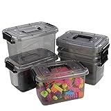 Ucake Caja Plastico de Almacenaje Portátil para Primeros Auxilios con Asas y Tapas, Color Gris Claro y Negro, 6 Paquetes