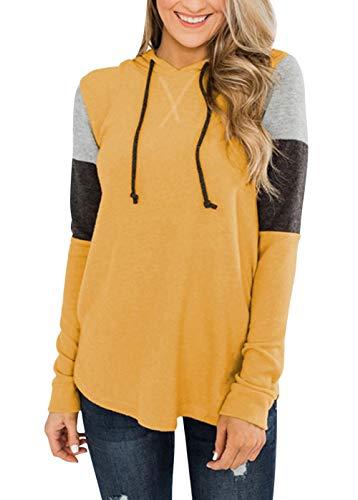 MAGIMODAC Kapuzenpullover Damen Sweatshirt Shirt Hoodie Farbblock Langarmshirt Kapuzenpulli Oberteile Pullover mit Kapuze (Gelb, XL)