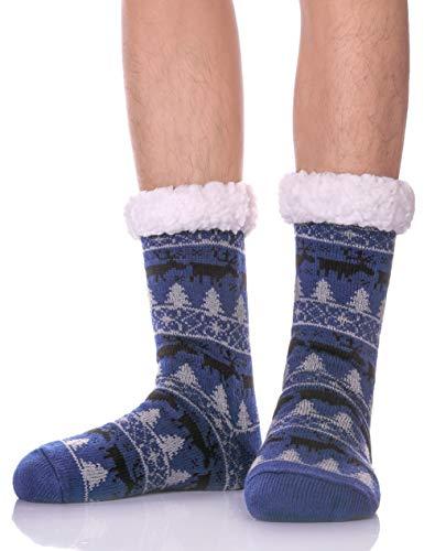 YEBING Mens Slipper Socks Fuzzy Soft Warm Fleece Lining Knit Thick Winter Socks with Grippers (Blue)