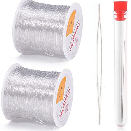 MMYAN Pulsera de hilo de abalorios para hacer joyas, línea de cuentas de cadena de cuentas transparente cordón elástico para joyería collar de conexión DIY