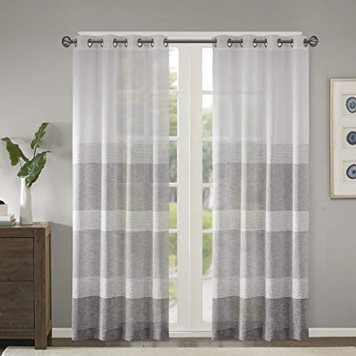 """Madison Park Hayden Striped Sheer Woven Faux Linen Curtains for Bedroom, Modern Contemporary Living Room with Grommet, 1-Panel Pack, 50"""" W x 95"""" L, Grey"""