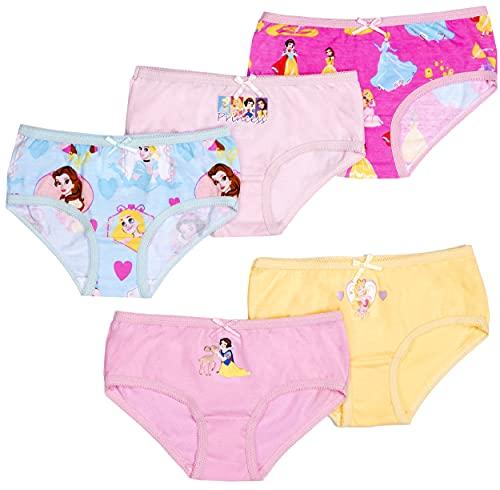 Disney - Princesas - Bragas para Niñas - Calzones de Algodón Suave - Ropa Interior Paquete de 5 con 5 Diseños Diferentes - Rosa - Edad 3-4