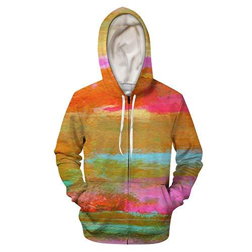 Sudadera unisex con capucha y capucha con estampado en 3D de color teido anudado