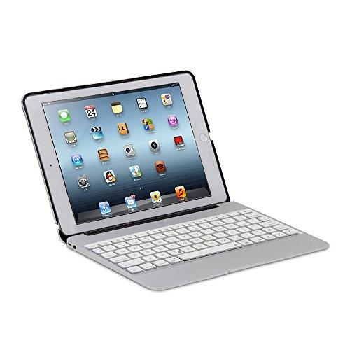 Rubility - Custodia per tastiera per iPad Air 2 con retroilluminazione e tastiera Bluetooth da 9,7 pollici, colore: Argento