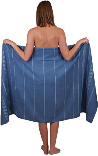 Betz Badetuch XXL Strandtuch Lines 100% Baumwolle Größe 90 x 180 cm Farbe blau