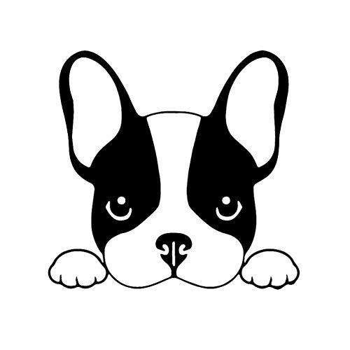 GDYL Etiquetas Engomadas del Coche 13,5X12,8 Cm Calcomanía De Vinilo Bulldog Francés Perro Cachorro Animal Positivo Mascotas Coche Pegatinas Negro/Plata