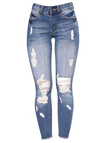 Generic Andongnywell Women's Stretchy Ripped Hole Skinny Jeans Butt Lifting Distressed Denim Pants with Pockets Trousers (Blue, Large)