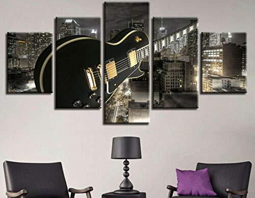 XUEI Hermosa música de construcción de Guitarras Cuadro Moderno En Lienzo 5 Piezas Póster De Arte Moderno Oficina Sala De Estar O Dormitorio Decoración del Hogar Arte De Pared 150x80cm(Enmarcado)
