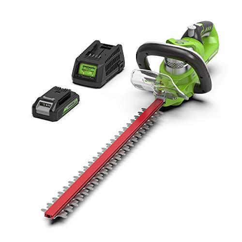 Greenworks Tools 2200107UA Cortasetos Inalámbrico, 24 V, Verde, 57 cm