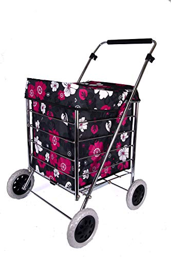 Adult Four Wheel Shopping Trolley Trolley CASE W40 X D46 X H40 cm St-ns-four-01 (Red/Pink Flowers)