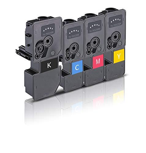4 Tóner XXL Compatible con los cartuchos de impresora Kyocera TK-5230 Negro Cian Magenta Amarillo para Ecosys M5521cdn M5521cdw P5021cdn P5021cdw Impresora láser Multipack