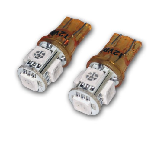 TuningPros LEDCK-T10-AS5 Clock LED Light Bulbs T10 Wedge, 5 SMD LED Amber 2-pc Set