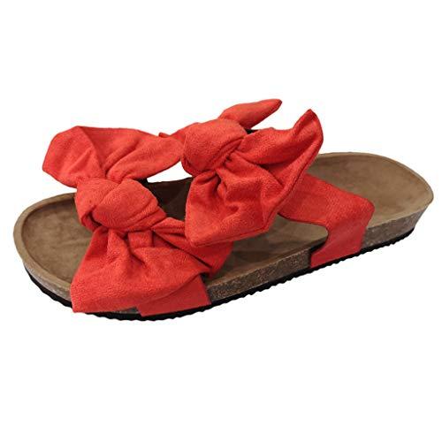 Hausschuhe Sandalen Frauen Bowknot Roman Flat Casual Beach Indoor Outdoor Schuhe (41,rot)