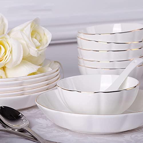 CCAN Juego de Cena de 25 Piezas para 6 Personas, vajilla de Porcelana de Porcelana para Comedor, Cocina, Comedor, vajilla Redonda Blanca, Juego Combinado con Cuencos de Fideos de Cereales, Platos de