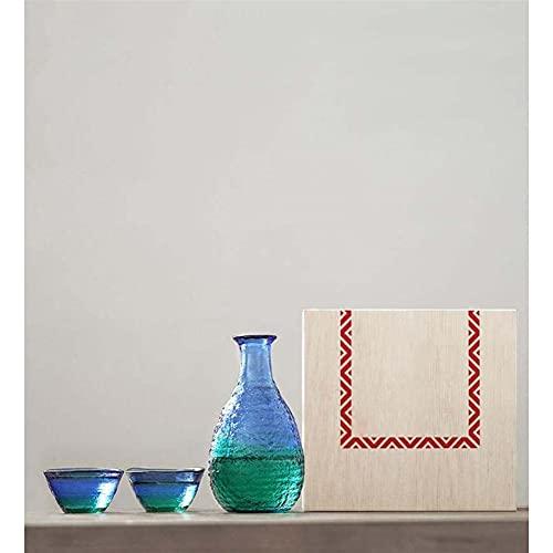 Botellas y juegos de sake Blue degradado color soda-lima vidrio sake conjunto caja de regalo de madera embalaje regalos de negocios