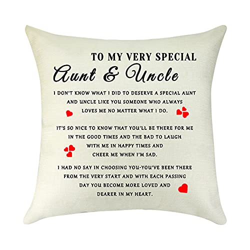 Best Aunt and Uncle Gifts Pillow Cover Christmas Birthday Gifts for Aunt Uncle from Nephew Niece Thank You Gift Linen Decorative Throw Pillow Case Cushion Cover Pillowcase Sofa Living Room 18  x 18