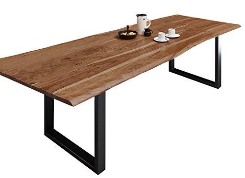 SAM Esszimmertisch 300x100 cm Milo, echte Baumkante, nussbaumfarben, massiver Esstisch aus Akazienholz, Metallbeine Schwarz, Baumkantentisch