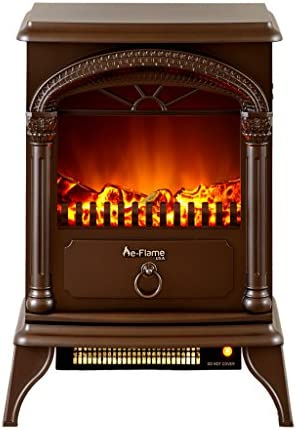 e Flame USA Hamilton Freestanding Electric Fireplace Stove 3 D Log and Fire Effect Bronze product image