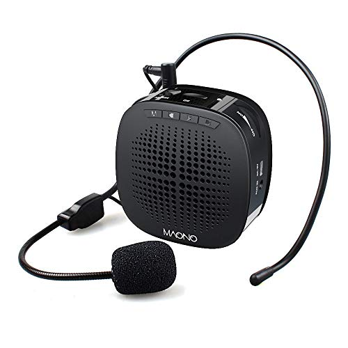 Maono AU-C03 Portable Rechargeable Voice Amplifier, with Wired Headband Microphone, Speaker and Waistband, Support MP3/TF/SD Card and Aux-in, Black
