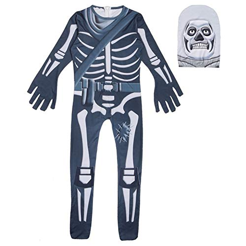 Halloween Costumes Kids Gingerbread Man Skull Trooper Skin Decoration Boys Character Clown Cosplay Clothes (Blue, T7)