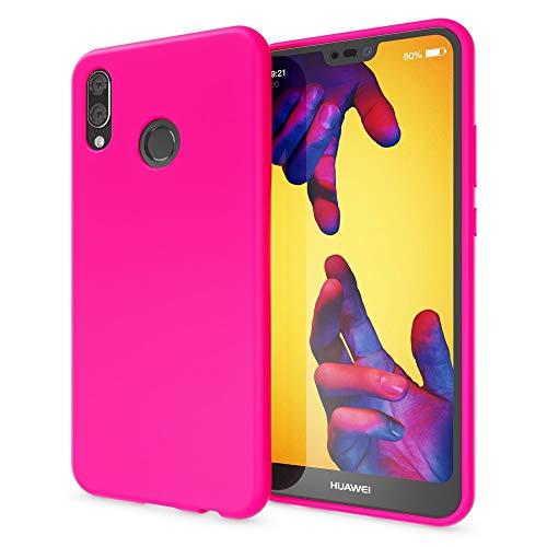 NALIA Funda Neon Compatible con Huawei P20 Lite, Carcasa Protectora Movil Silicona Ultra-Fina Gel Bumper Estuche, Goma Cubierta Telefono Cobertura Delgado Cover Smart-Phone Case, Color:Pink Rosa