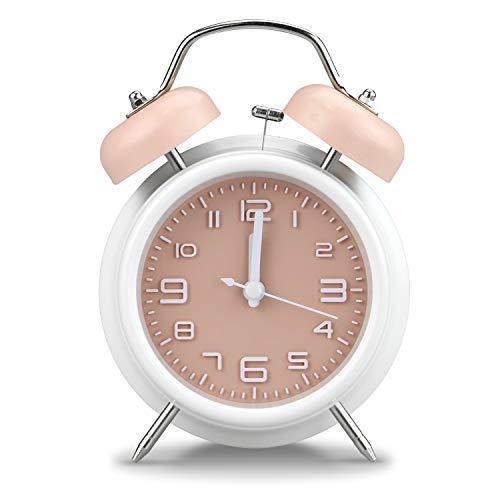PILIFE - Sveglia analogica da comodino, stile vintage, con retroilluminazione, funzionamento a batteria, orologio da viaggio rotondo e forte Rosa e bianco.