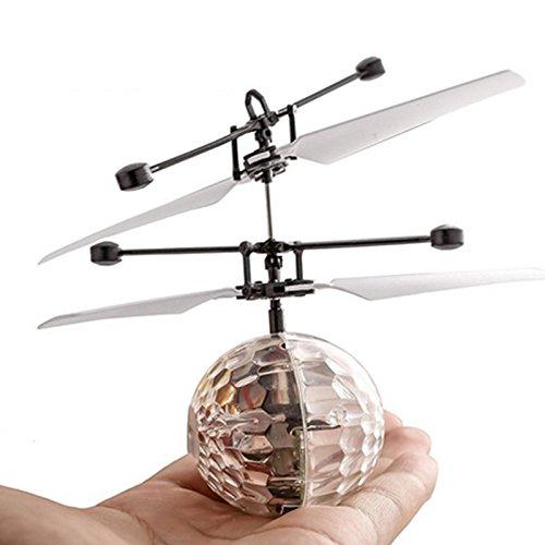 TOOGOO Drone de induccion infrarroja fantastica Helicoptero de bola de iluminacion LED brillante colorido disco flash volador Juguete para ninos No es necesario usar control remoto Carga USB