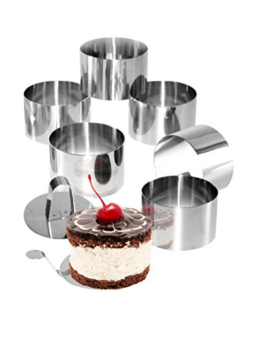 STONELINE® Dessert- und Speiseringe Set, 8-teilig, Edelstahl, 6 Ringe, 1 Heber, 1 Stempel